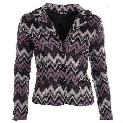 Dámské fialové sako s cikcak vzorem Purple Jam