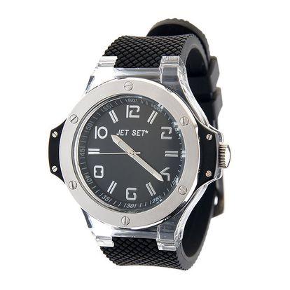 Pánské ocelové hodinky Jet Set s černým silikonovým páskem