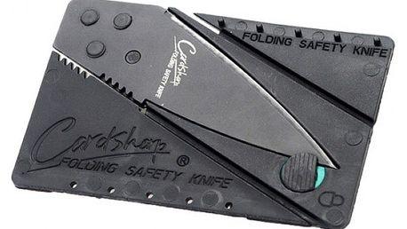 Skládací nůž velikosti karty do peněženky - černý - dodání do 2 dnů