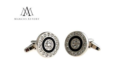 Luxusní manžetové knoflíčky Marcus Astory, kulaté s kamínky