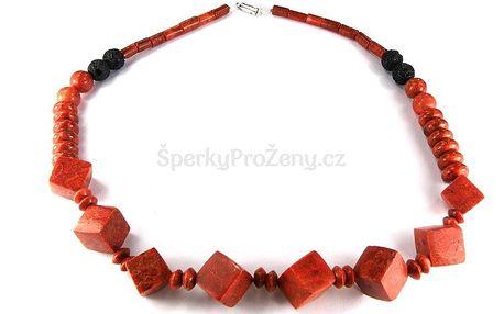 Originální náhrdelník s červeným korálem