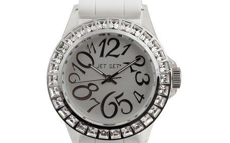 Dámské bílé hodinky s kamínky Jet Set