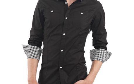 Pánská casual košile Doublju - černá s kostičkou