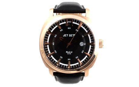 Pánské hodinky Jet Set s černým koženým řemínkem