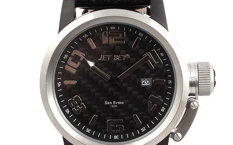 Pánské černé hodinky s datumovkou Jet Set