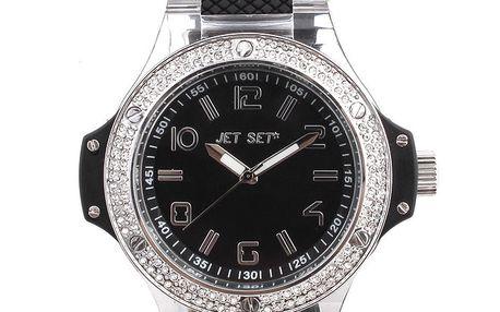 Dámské černé hodinky s kamínky na lunetě Jet Set
