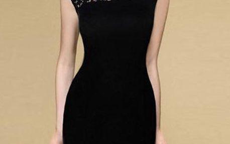 Pouzdrové společenské šaty, černé krátké