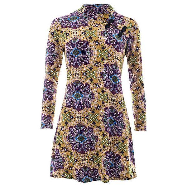 Dámské barevně vzorované šaty s dlouhým rukávem Purple Jam
