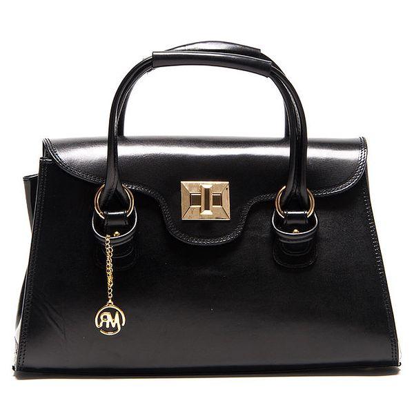 Dámská černá kabelka s patentkem zlaté barvy Roberta Minelli