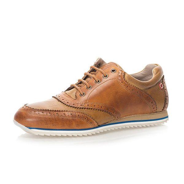 Pánské kožené boty v hnědé barvě Nobrand