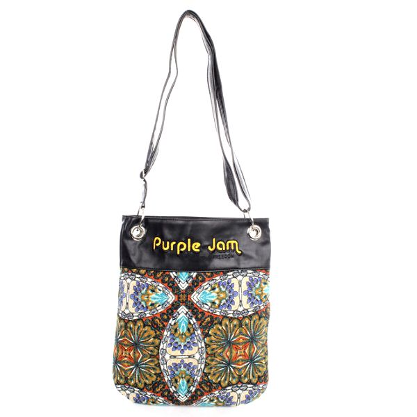 Dámská vzorovaná taška přes rameno se žlutým nápisem Purple Jam