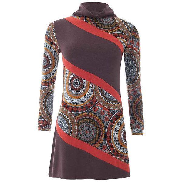 Dámské šaty s červenými pruhy a barevným vzorem Purple Jam