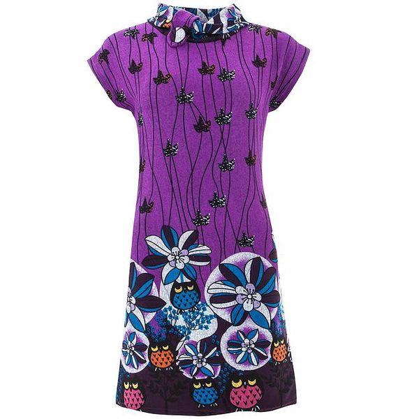 Dámské fialové šaty s rolákem a potiskem Purple Jam