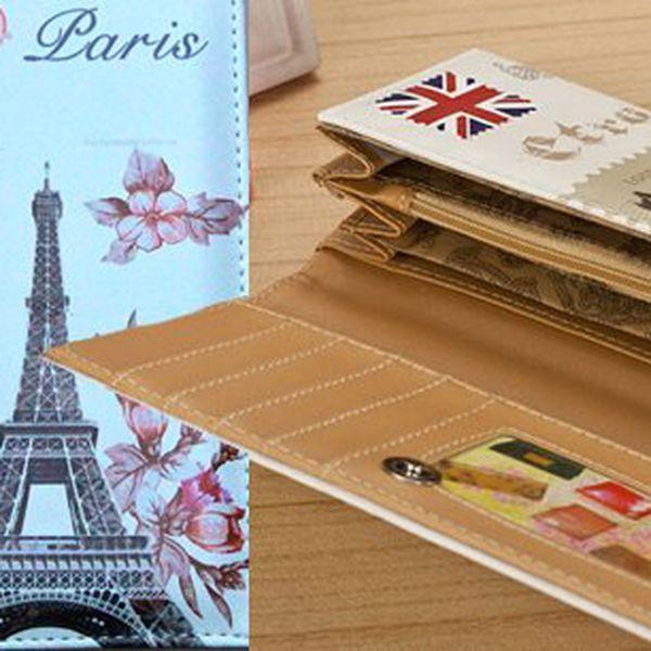 Dámská stylová peněženka - 4 motivy Paříž/Londýn, hit letošních Vánoc. Buďte stylová s krásnou peněženkou romantických měst. Peněženka je velmi praktická díky přihrádkám na mince, bankovky a karty!