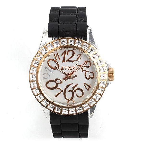 Dámské hodinky Jet Set s černým silikonovým páskem a kamínky
