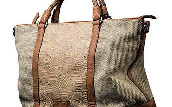 Dámská světle béžová obdelníková kabelka s hnědými prvky Sisley