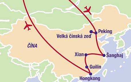 Velký okruh Čínou s návštěvou Hong Kongu, Asie, Čína, letecky, strava dle programu