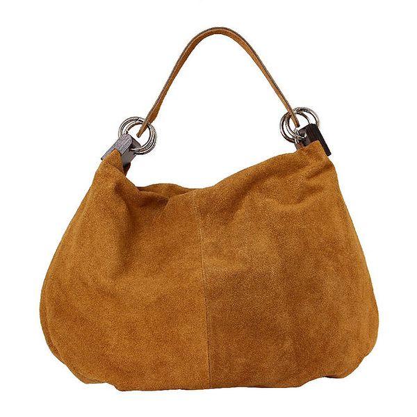 Dámská světle hnědá kožená kabelka s pevným popruhem Kreativa bags