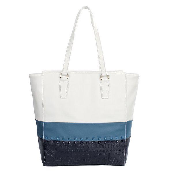 Dámská bílá kabelka s barevnými pruhy a cvočky United Colors of Benetton