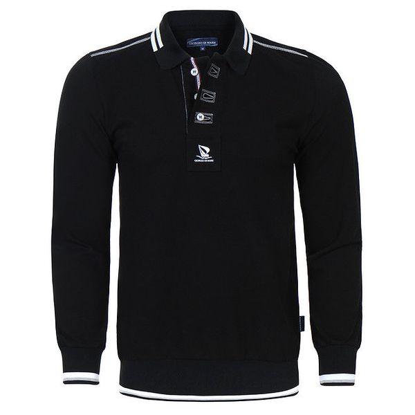 Pánské černé polo tričko s dlouhým rukávem Giorgio Di Mare