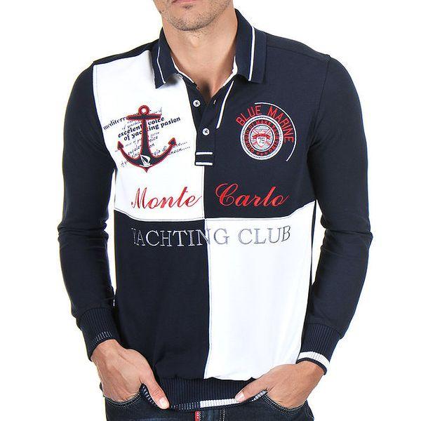 Pánské modro-bílé polo tričko s dlouhým rukávem Giorgio Di Mare