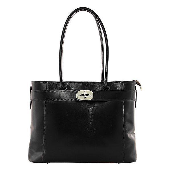 Dámská černá kožená kabelka na zip Kreativita bags