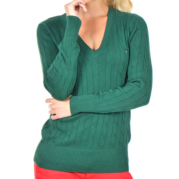 Dáský tmavě zelený svetr s véčkovým výstřihem Giorgio di Mare