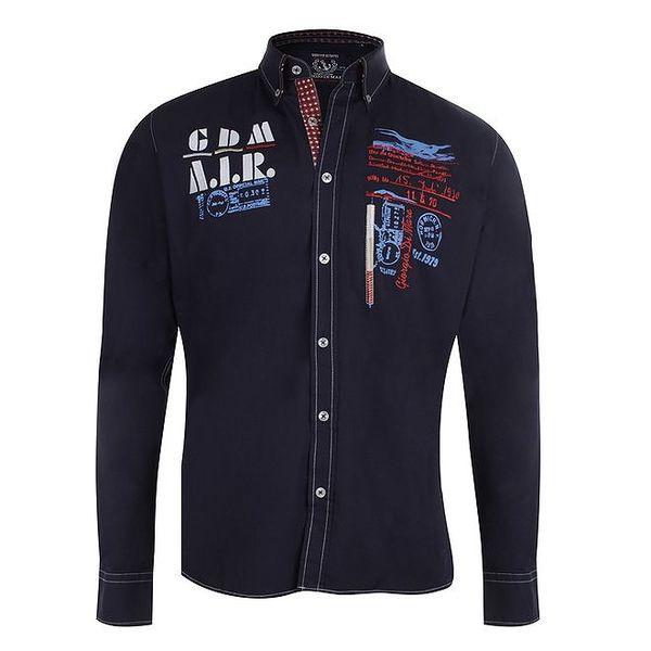 Pánská tmavě modrá košile se vzorovanými manžetami Giorgio Di Mare