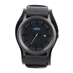 Pánské černé hodinky s modrými prvky Axcent