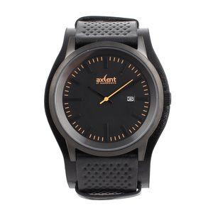 Pánské černé hodinky s oranžovými prvky Axcent