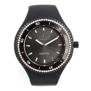 Dámské černé hodinky s bílými zirkony Axcent