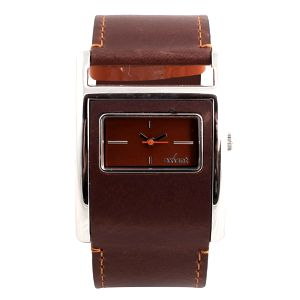 Dámské hranaté hodinky s hnědým koženým řemínkem Axcent