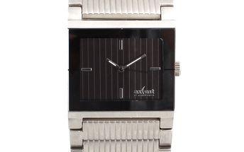 Dámské ocelové hodinky s hranatým černým ciferníkem Axcent