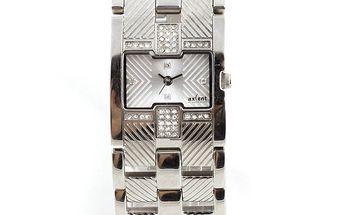 Dámské hodinky ve stříbrném tónu s malými kamínky Axcent