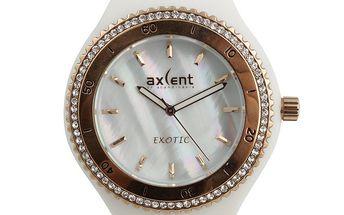 Dámské bílé hodinky s prvky ve zlatém tónu a zirkony Axcent