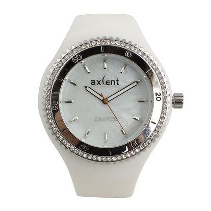 Dámské bílé hodinky s prvky ve stříbrném tónu a se zirkony Axcent
