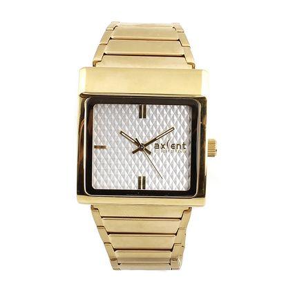Dámské hodinky s hranatým pouzdrem ve zlatém tónu Axcent
