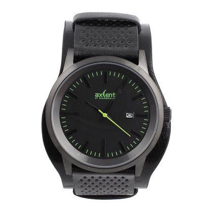 Pánské černé hodinky se zelenými prvky Axcent