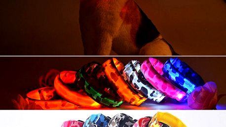 Svítící LED obojek pro pejsky s vojenským vzorem - modrý. vel. S - dodání do 2 dnů