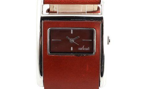 Dámské hranaté hodinky s tmavě červeným koženým řemínkem Axcent