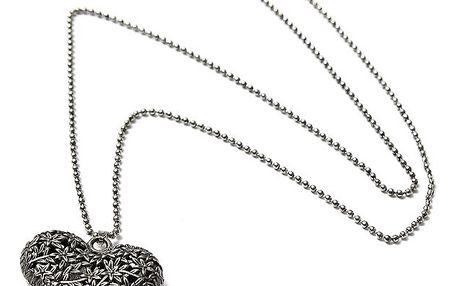 Náhrdelník se srdcem - stříbrná barva - dodání do 2 dnů