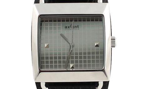 Hranaté hodinky s černým koženým řemínkem Axcent