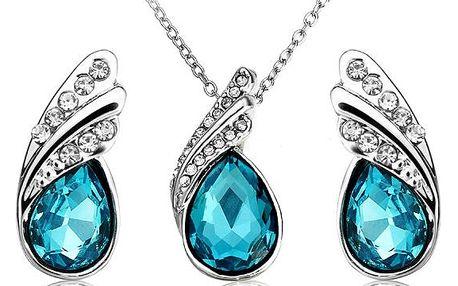 Sada náhrdelníku a náušnic s kamínky ve tvaru slzy