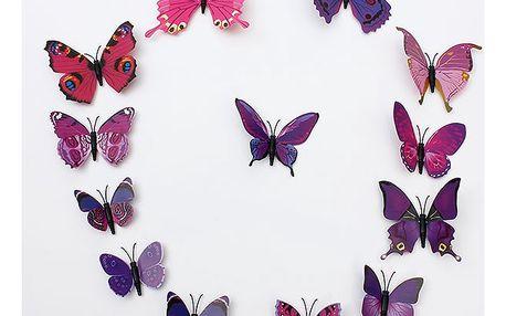 Dekorace v podobě 3D motýlků - 6 barev