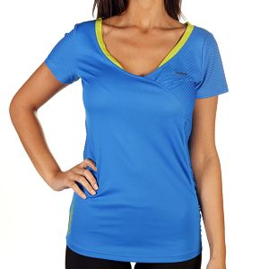 Dámské modré tričko se žlutým lemem Reebok