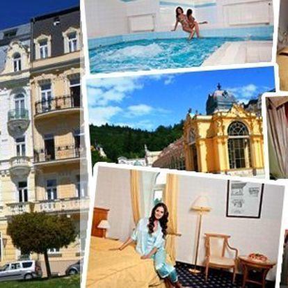 Pobyt v lázeňském hotelu Belvedere**** přímo v centru Mariánských Lázní v těsné blízkosti kolonády, wellness program, snídaně, obědy, večeře, salátový bufet, čaj a voda zdarma a navíc vstup do hotelového bazénu zdarma.