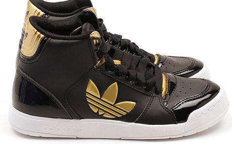 Dámské černé kotníkové tenisky se zlatými detaily Adidas