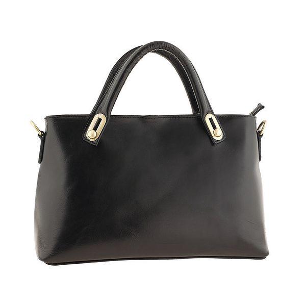 Dámská černá kožená obdélníková kabelka Valentina Italy