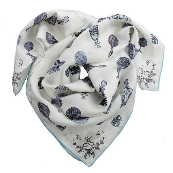 Dámský bílý šátek s potiskem a tyrkysovým okrajem Pietro Filipi