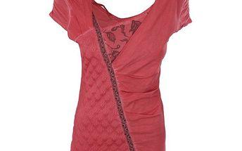 Dámský červený top s asymetrickým výstřihem Angels Never Die
